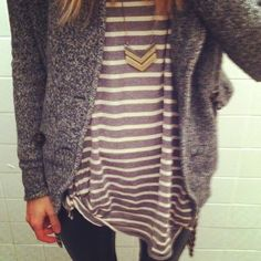 Oversized striped tee, chunky sweater, and chevron necklace.