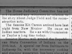 Famous Kit Carson passes through Atchison. Daily Atchison Champion 5 Feb 1868, Wed