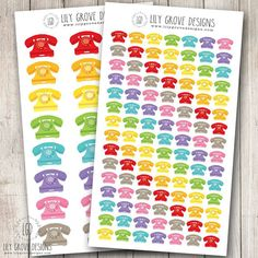 Rainbow Telephones Set of 24 or 105  Perfect by lilygrovedesigns
