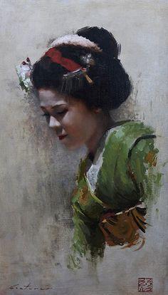 """Maiko Satohana"" - Phil Couture, oil on canvas, 2014 {figurative art female head asian woman face portrait painting #loveart}"
