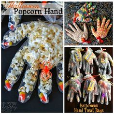 Fill a plastic glove with popcorn and candy corn! Made by Yummy Healthy Easy Use a surgical glove (latex free) and fill it with candy! Love how she used smarties for the finger spots. Made by Queens Card Castle Fill the entire gloves with butterscotch chips, candy corn, or sixlets! Love how they used Mike …