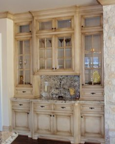 kitchen cabinets, beige, rustic, distressed