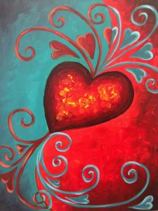 View Paint and Sip Artwork - Pinot's Palette Diy Canvas, Canvas Art, Wine And Canvas, Heart Painting, Valentines Art, Paint And Sip, Cool Paintings, Paint Party, Heart Art
