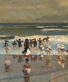 "Winslow Homer - ""Escena de playa"" (h.1869, óleo sobre lienzo, 29 x 24 cm, Museo Thyssen-Bornemisza, Madrid"