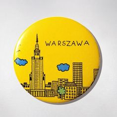 Fridge Magnet - Yellow Panorama.  The colourful souvenir from Warsaw for your fridge or magnetic board. $10 zł.