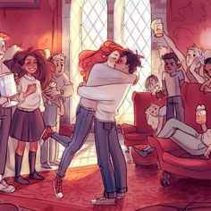 Harry Potter Gif, Weasley Harry Potter, Harry Potter Drawings, Harry Potter Pictures, Harry Potter Wallpaper, Harry Potter Universal, Harry And Hermione Kiss, Harry And Ginny Fanfiction, Ginny Weasley
