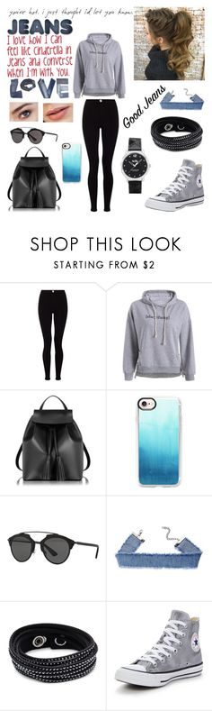 """""""COOL just in JEANS and CONVERSE"""" by blerina4 on Polyvore featuring Lipsy, Le Parmentier, Casetify, Christian Dior, Swarovski, Kerr®, Hudson Jeans, Converse and Coach"""