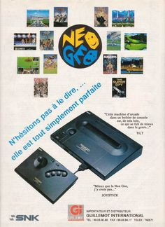 neo geo console french retro and vintage ads for video games from the 80s, 90s and 2000s