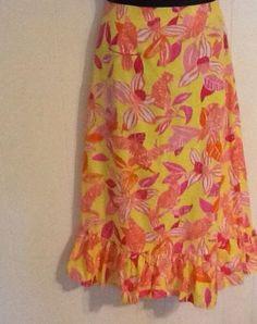 LILLY PULITZER WOMAN SKIRT SIZE 6 long skirt yellow orange bird print pink Skirt