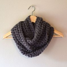 cowl, Bulky weight size 5 yarn (used Patons Shetland Chunky in Oxford Grey)  Size M or N crochet hook