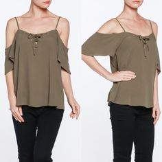 ALLAIRE lace up cold shoulder top - OLIVE Super soft 100% rayon cold shoulder top with lace up front detail. Bellanblue Tops Blouses