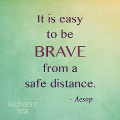 It is easy to be brave from a safe distance. -Aesop #literary #quote