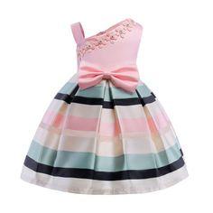 Bowknot Decorated Applique Stripe Sleeveless Zipper Back Princess Dress...#toddlerprincessdress         #pinkprincessdresstoddler         #princessdressfortoddler  #popreal, #popreal_baby_fashion, #babyfashion, #girlsclothes,#Summer2018 #Summer2019 #girlsclothes, #Dresses #PartyDresses Baby & Toddler Girl
