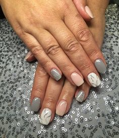 SNS nails with marble