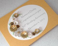 50th anniversary card golden wedding quilled by PaperDaisyCards