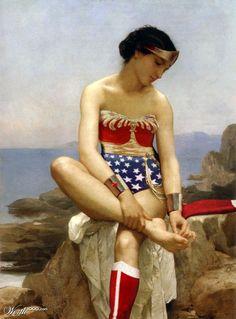 Wonder Woman, posing as the Spinario