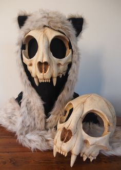 A domestic cat skull mask modified to fit the human head. I had lots of fun making this and if you wait a little longer there will also be a bottom jaw . Cat Skull Mask - painted (top) - FOR SALE - Larp, Cat Skull, Skull Mask, Cat Mask, Skeleton Mask, Skull Helmet, Bird Skull, Skeleton Makeup, Human Skeleton