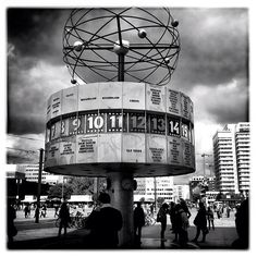 berlin alexanderplatz. the famous world time clock next to the tv tower.