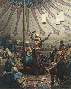 Egyptische danseres in een tent, met muzikanten en toeschouwers (1863), Willem de Famars Testas