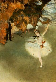 The Star (Dance on Stage) - Edgar Degas (1878). Degas is, after Van Gogh, my favourite impressionist. His skills depicting the movement in ballet paintings are famous; his mastery of the color, obvious.