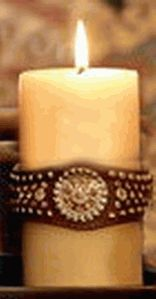 Distressed Brown Candle Wrap with Pink Concho (comes with vanilla scented candle)  - Can also be used as a bracelet!