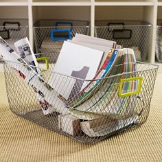 Net Mesh Storage Basket - Green Handle, Large | The Organizing Store #retailstoredisplay