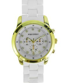 Another great find on #zulily! White & Gold Link Watch by Vecceli Italy #zulilyfinds