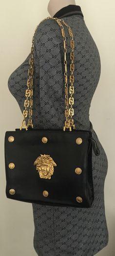 5d60dca65727 90s Gianni Versace large medusa chain strap shoulder bag Rare