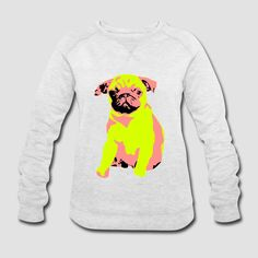 Mops Hund Motiv für alle Möpse Liebhaber. Kultiger Hunde Welpe in funky Farben fürs T-Shirt. Pug dog motive. Cool puppy design in funky colours for your T-Shirt.