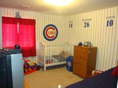 Toddler sons room - Chicago Cubs!, My husband scaled the hand-painted stripes to the logo from his actual jersey. The numbers/names on the wall are the four retired Chicago Cubs players in order that they retired using the actual font from the jersey., Boys Rooms Design