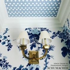 Match-Half Drop Wallpaper is priced as a single roll and comes packaged as 2 single rolls equaling a double roll. Must order in qty's of 2 Double roll covers approx. of area. Wallpaper Ceiling, Bold Wallpaper, Blue Wallpapers, Wallpaper For Walls, Blue And White Wallpaper, Wallpaper Ideas, Powder Room Wallpaper, Bathroom Wallpaper, Houses