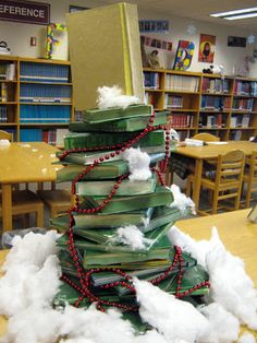 Christmas book tree library display