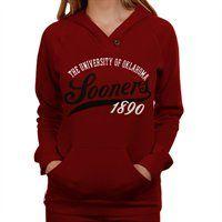 Oklahoma Sooners Ladies Crimson Far Out Pullover Hoodie Sweatshirt