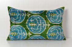 Velvet Ikat Pillow  Green And Blue Tribal Soft by pillowme on Etsy, $65.00