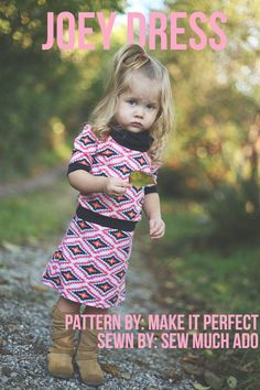 I'm participating in Make it Perfect's pattern tour today, and sharing the Little Joey Dress that I made for Lola. I loved this design when I first saw it, and knew it would be a great dress to add...