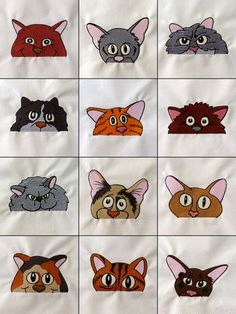 Set of 12 Embroidered Quilt Blocks - Peek-a-Boo Cats