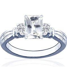 14K White Gold Emerald Cut White Sapp...