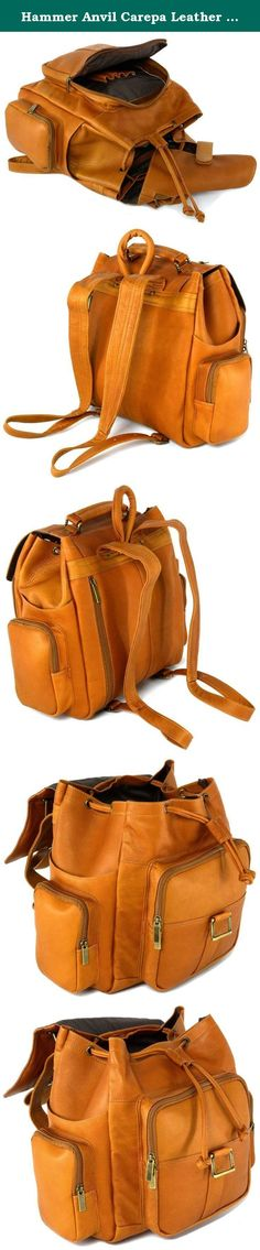 "Hammer Anvil Carepa Leather Backpack Large Versatile Use Daily For Travel Tan. Carepa Genuine Colombian Leather Backpack By Hammer Anvil Made from Natural Genuine Vacquetta Leather, Manufactured & Imported from Colombia. This Backpack is perfect for travel, school, or everyday wear and will look better with age. It has a beautiful matte finish that allows a natural look as it is worn. Product Features: Measurements 12.5"" x 12."" x 5.5"" 1 Year Manufacturer's Warranty Adjustable Shoulder…"