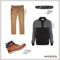 Trzewiki Wojas (320453) wykończone materiałem w modną kratę to idealne obuwie na jesienne dni. Obuwie połączone z brązowymi spodniami, ciepłą bluzą oraz czarnym paskiem Wojas tworzą swobodne i wygodne zestawienie.