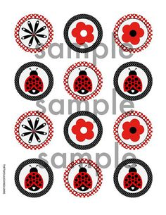 INSTANT LADYBUG CUPCAKE Toppers 2 Circles digital file
