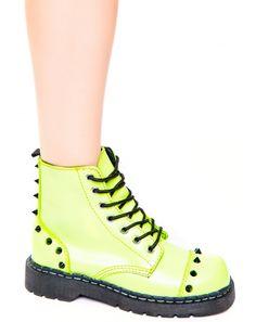 9a239d6cee21c Neon Green Spike 7 Eye Boot