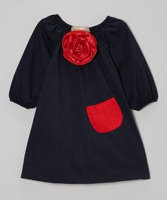 Take a look at this Navy & Red Flower Peasant Dress - Toddler & Girls by Lele Vintage on #zulily today!