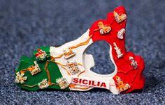 Resin Fridge Magnet: Italy. Sicily Map (Bottle Opener Magnet)