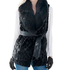 Awtang Womens Waistcoat Faux Fur Vest Big Collar Coat Jacket Outwear with Belt -- To view further, visit http://www.amazon.com/gp/product/B015SNQGFG/?tag=clothing8888-20&pde=250716035856