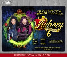 Disney Descendants Birthday Party Invitation With Photo