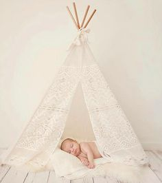 Gallop Lifestyle - Fab Ideas from DTLL. Lace Inspired Tee Pees by Banana J Creations. #nursery #kidsroom #playroom #DTLL