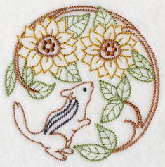 Chipmunk with Sunflowers (Vintage) design (H6557) from www.Emblibrary.com