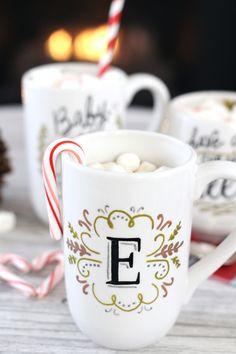 DIY monogram mug gift.
