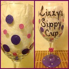 Hand Painted Wine Glass I made
