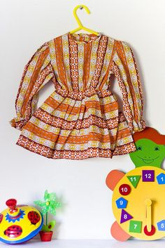 Orange vintage girls dress